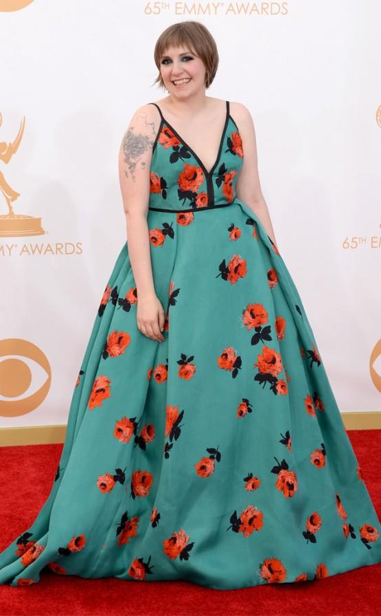 Lena Dunham in Prada. Emmys 2013