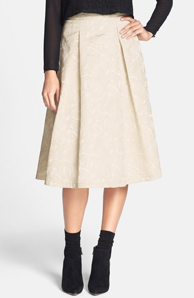 Textured Jacquard High Rise Midi Skirt