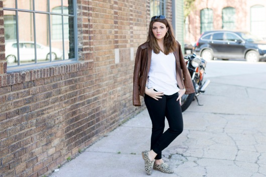 Everlane Tee, Gap Pants, Leopard Oxfords, Banana Republic Leather Jacket