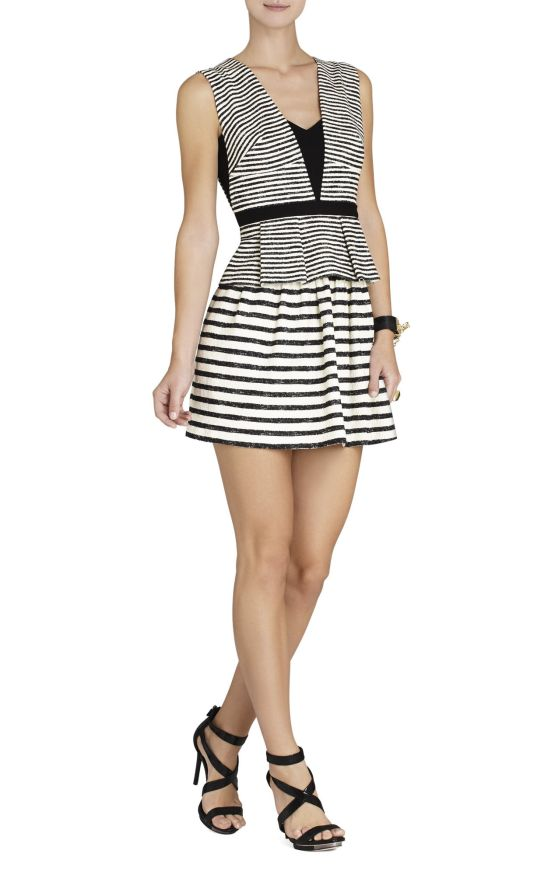 BCBG Piper V-Neck Stripe peplum dress